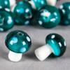 Perle en verre champignon 19mm vert à pois blanc x1