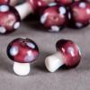 Perle en verre champignon 19mm mauve à pois blanc x1