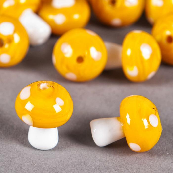 Perle en verre champignon 19mm jaune à pois blanc x1