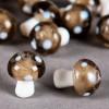 Perle en verre champignon 19mm gris à pois blanc x1