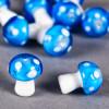 Perle en verre champignon 19mm bleu à pois blanc x1
