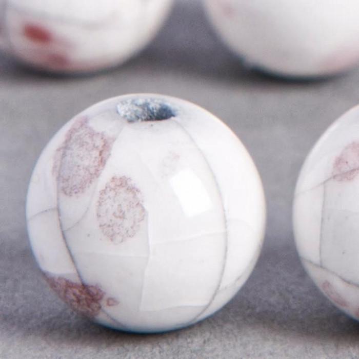 Perle en céramique marbrée blanc / rouge 10mm x1