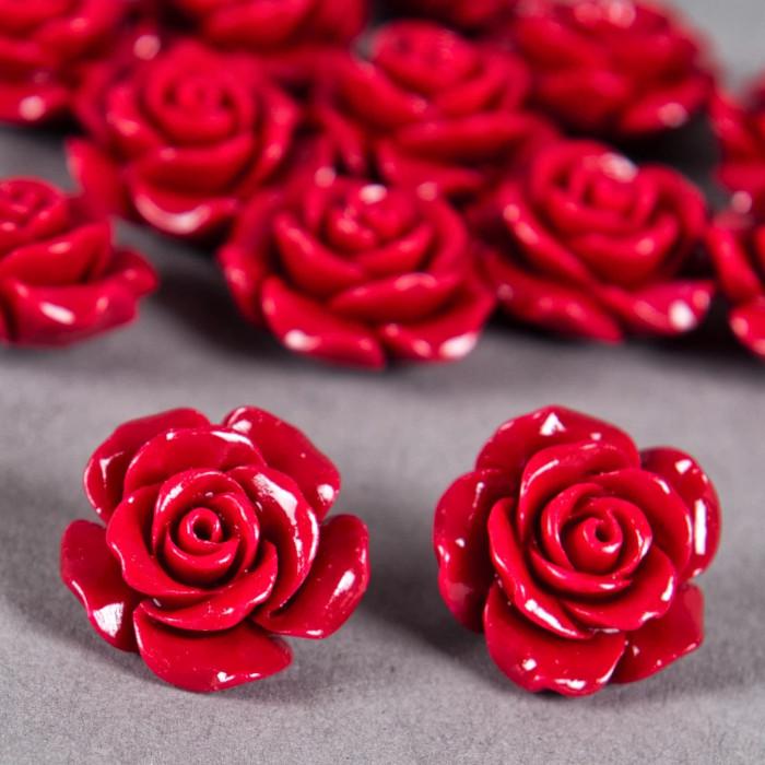 Fleur en poudre de nacre 18 mm rouge vif x1