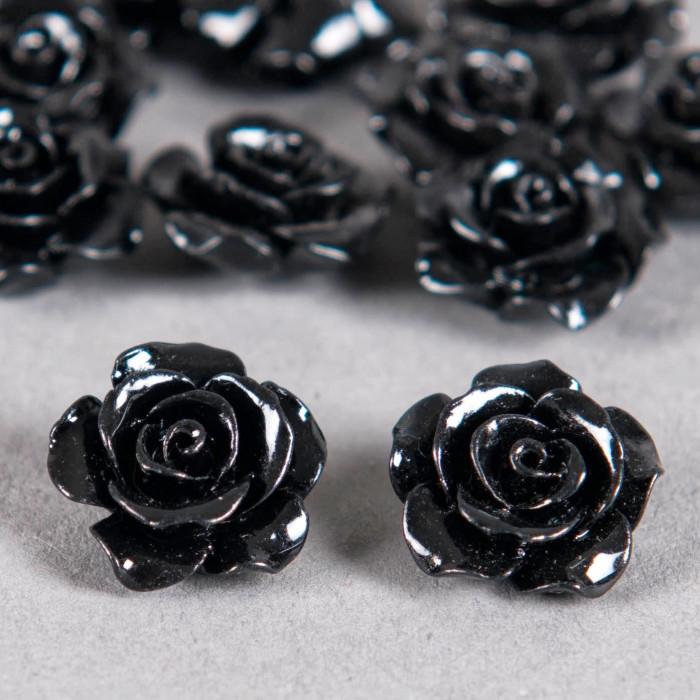 Fleur en poudre de nacre 15 mm noire x1
