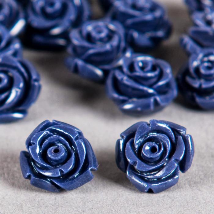 Fleur en poudre de nacre 12 mm bleu nuit x1