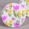 Pendentif sequin en nacre 25mm à motif fleur x1