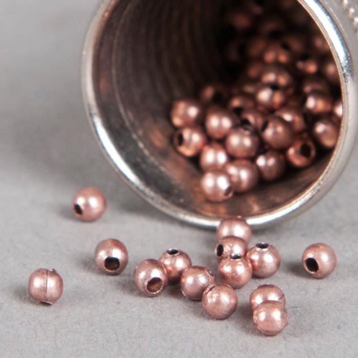 Perle en métal unie 5mm cuivre x10