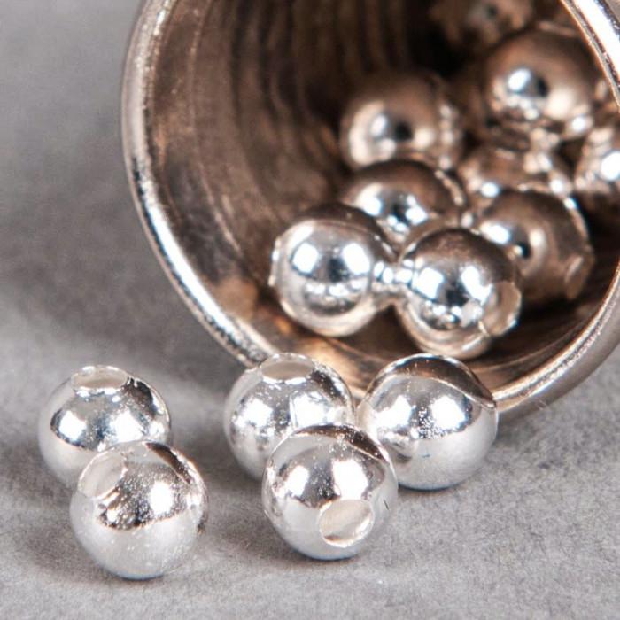 Perle en métal unie 8mm argent x10