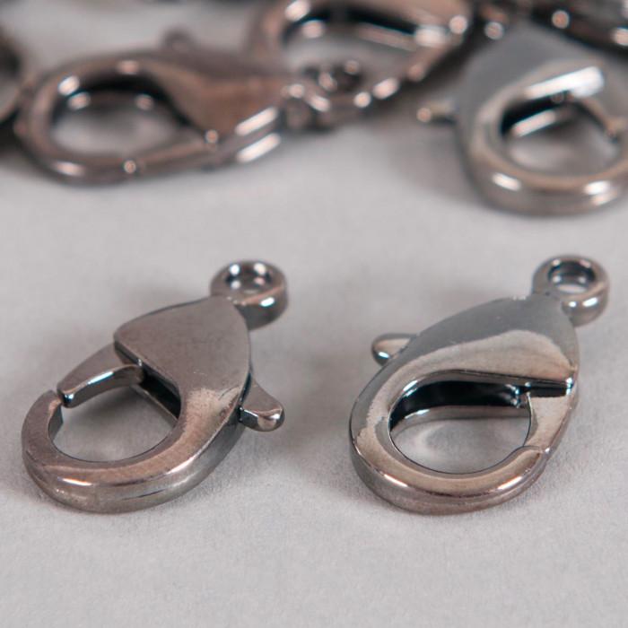 Fermoirs mousquetons 12mm argent noirci x5