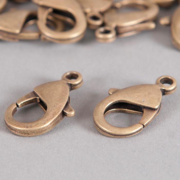 Fermoirs mousquetons 12mm bronze x5