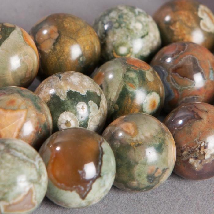 Jaspe : perle ronde 8mm vert x2