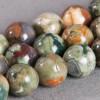 Jaspe : perle ronde 12mm vert x2