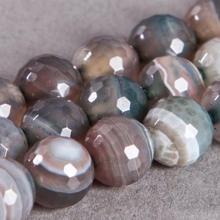 Agate Rubane : ronde à facettes 8mm gris/vert/blanc x1