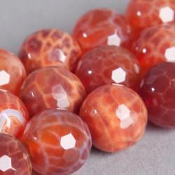 Agate de Feu : perle ronde à facettes 6mm x1