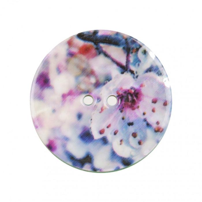 Bouton de nacre imprimé fleurs
