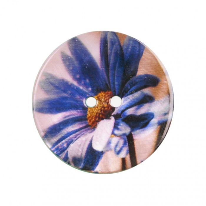 Bouton de nacre imprimé fleur violine