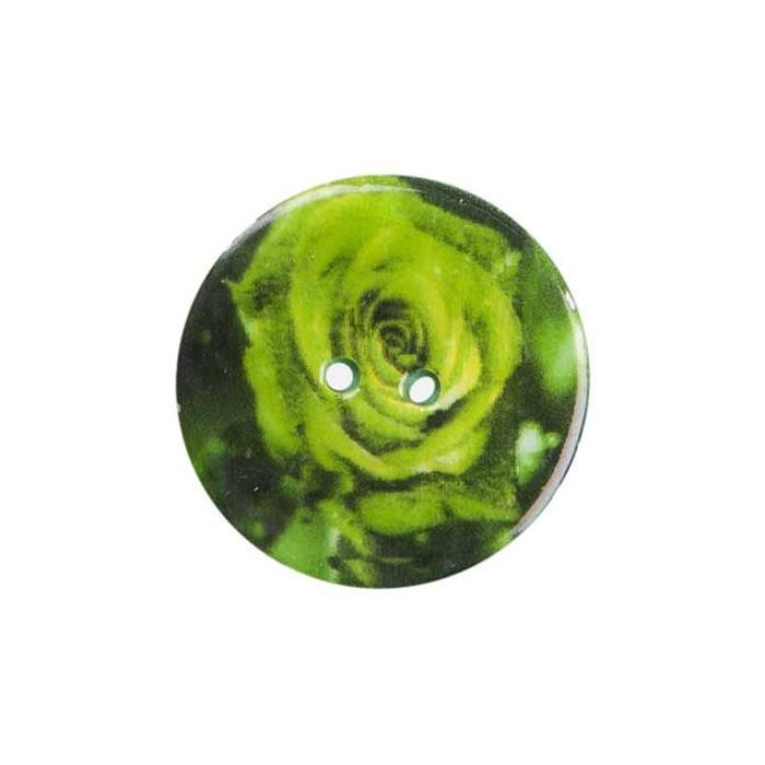 Bouton de nacre imprimé rose verte