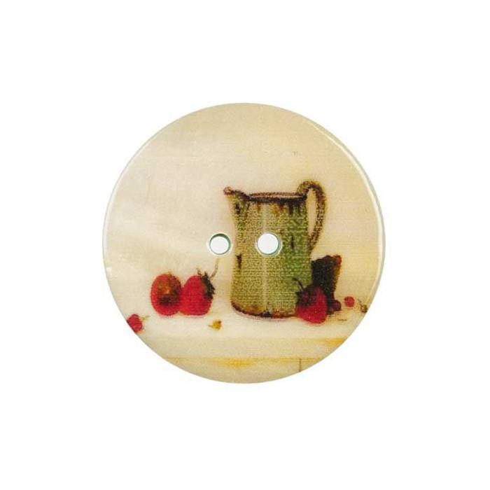Bouton de nacre imprimé nature morte fraise