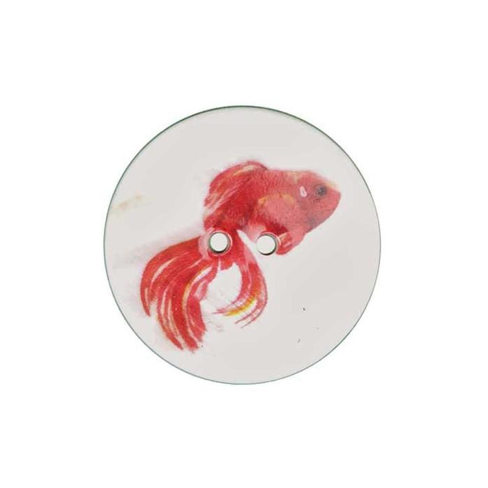 Bouton de nacre imprimé Poisson rouge