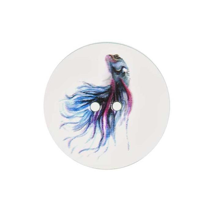 Bouton de nacre imprimé poisson bleu