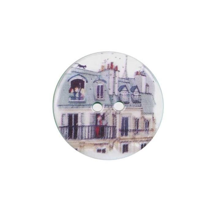 Bouton de nacre imprimé toit de Paris