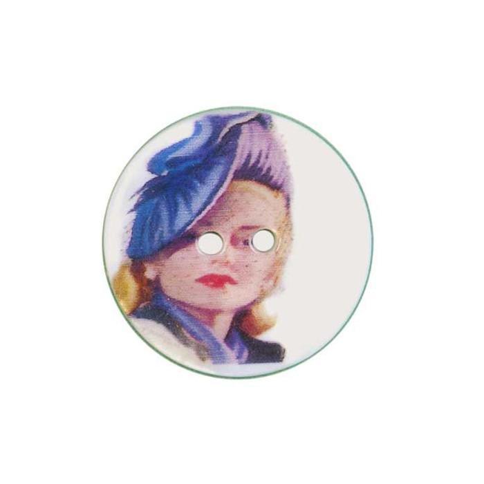 Bouton de nacre imprimé motif femme vintage