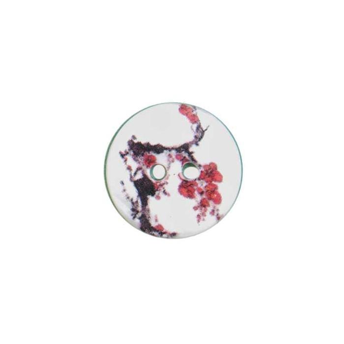 Bouton de nacre imprimé fleur japonaise