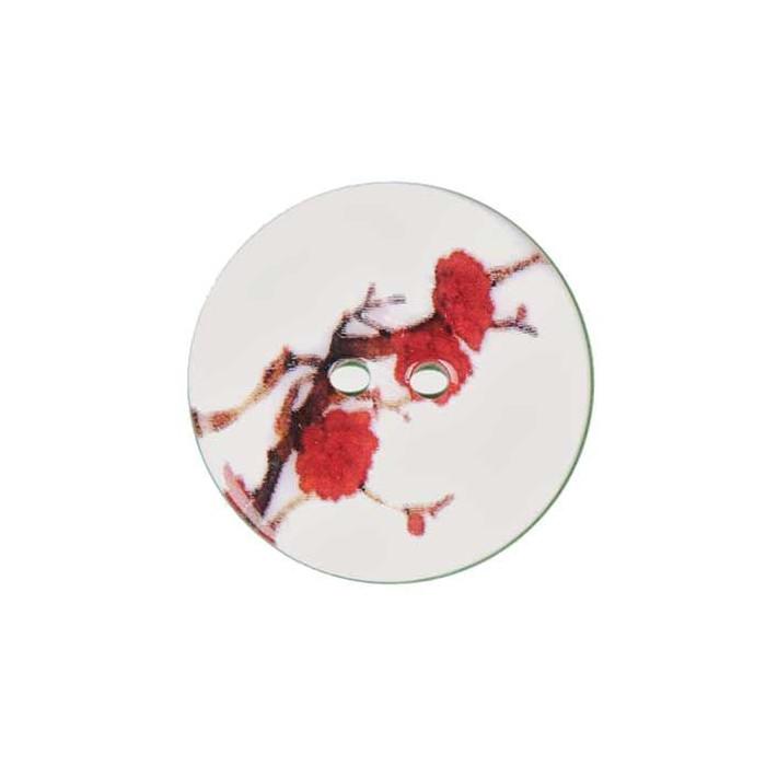 Bouton de nacre imprimé fleur rouge