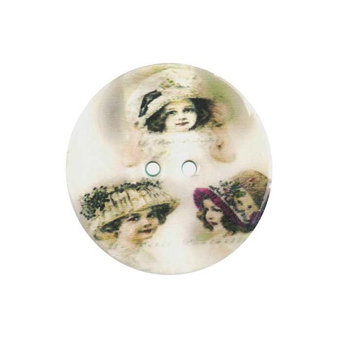 Bouton de nacre imprimé petites filles vintage