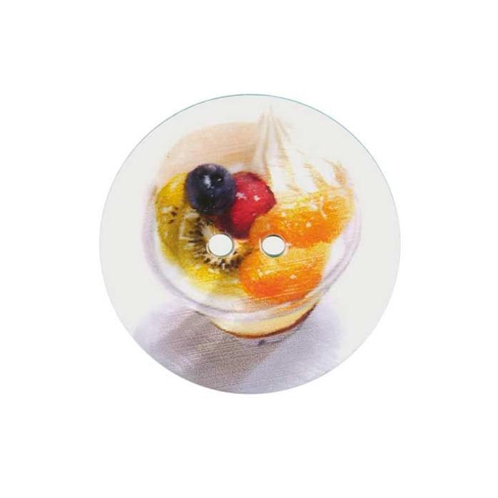 Bouton de nacre imprimé coupe de fruits