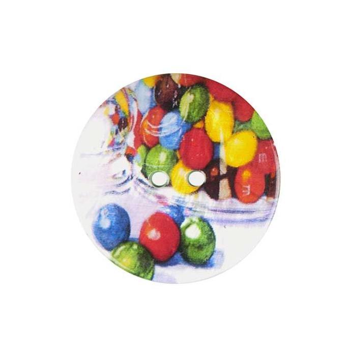 Bouton de nacre imprimé bonbons