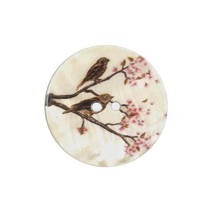 Bouton de nacre imprimé oiseaux