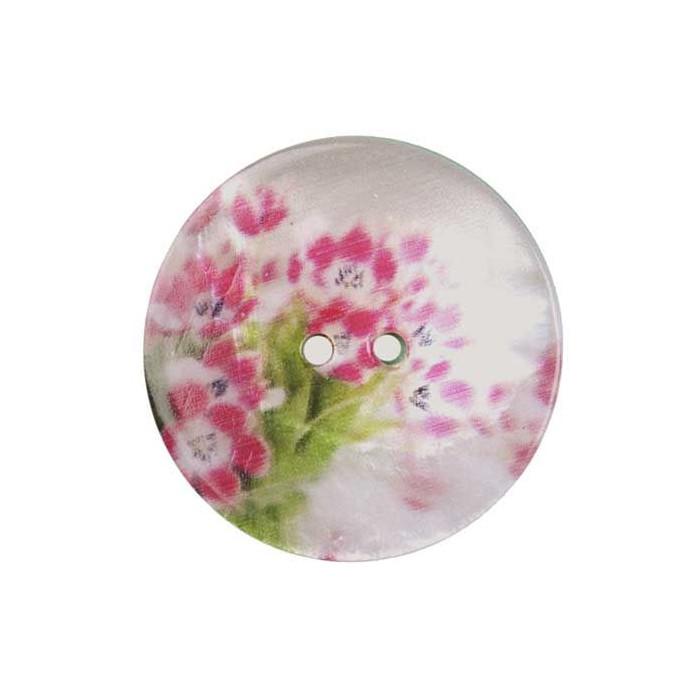 Bouton de nacre imprimé Tulipe rose