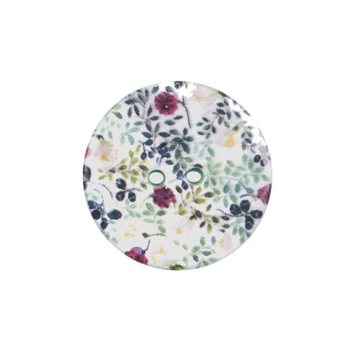 Bouton de nacre imprimé motif fleurs