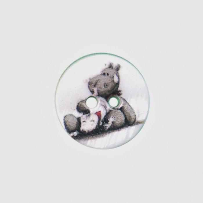 Bouton de nacre imprimé 15 mm Hippo