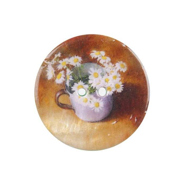 Bouton de nacre imprimé fleur nature morte
