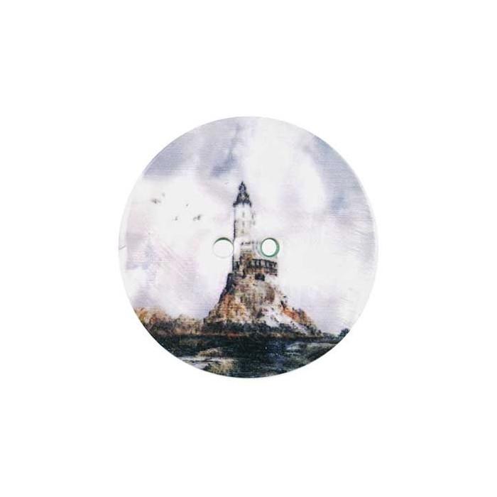 Bouton nacre imprimé Phare et Mer