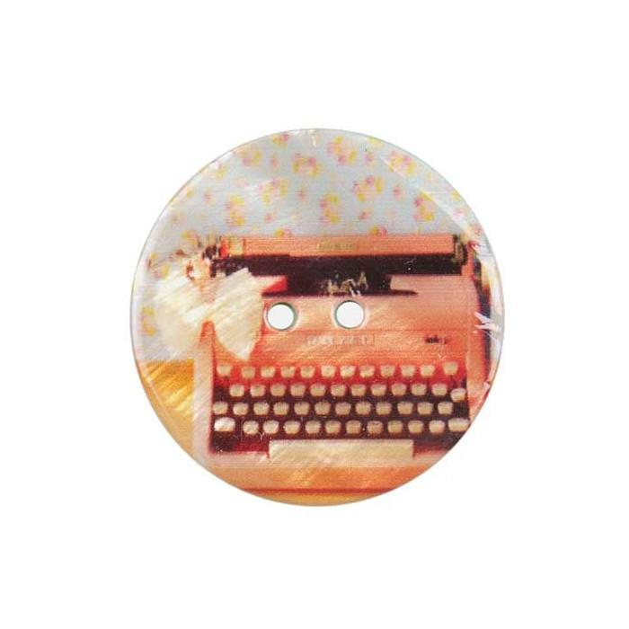 Bouton de nacre imprimé machine à écrire ancienne