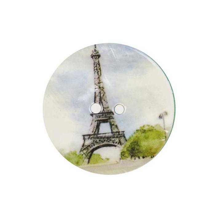 Bouton de nacre imprimé Tour Eiffel