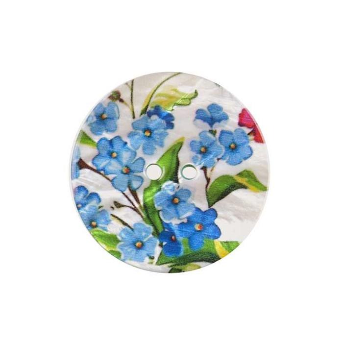 Bouton de nacre imprimé motif fleurs bleues