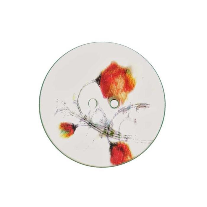 Bouton de nacre imprimé motif fleurs orange