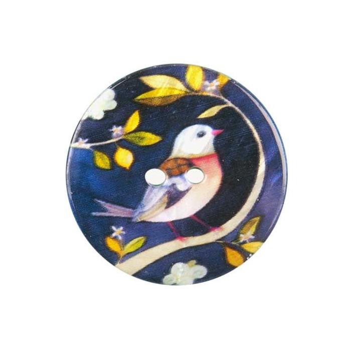 Bouton de nacre imprimé motif oiseau multicolore