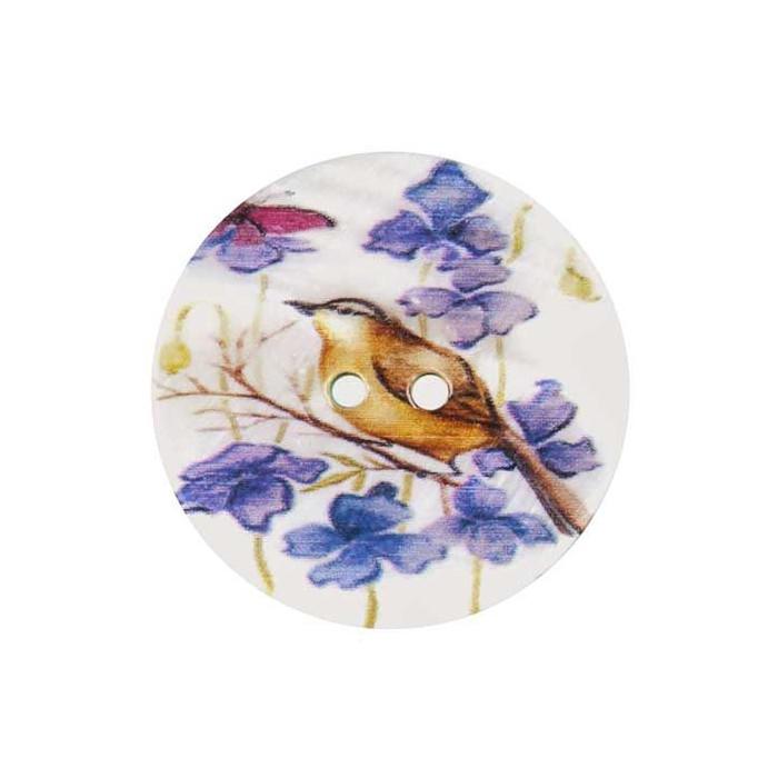 Bouton de nacre imprimé motif oiseau 2