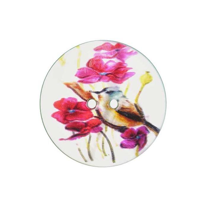 Bouton de nacre imprimé motif oiseau rose