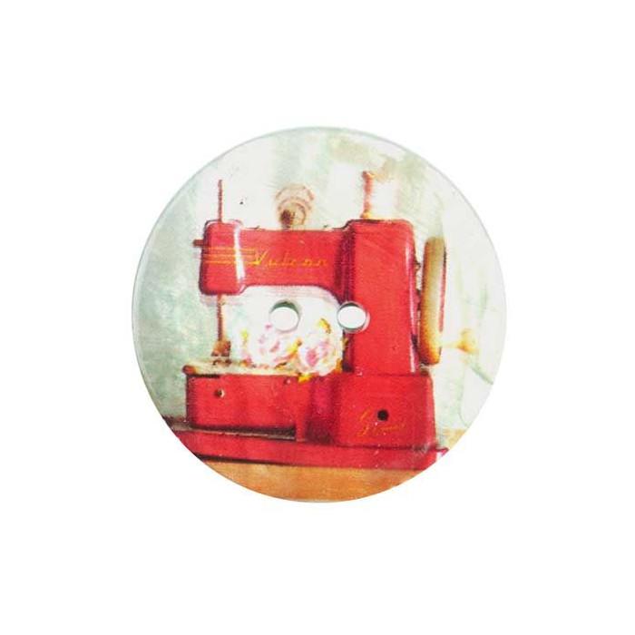 Bouton de nacre imprimé machine à coudre vintage