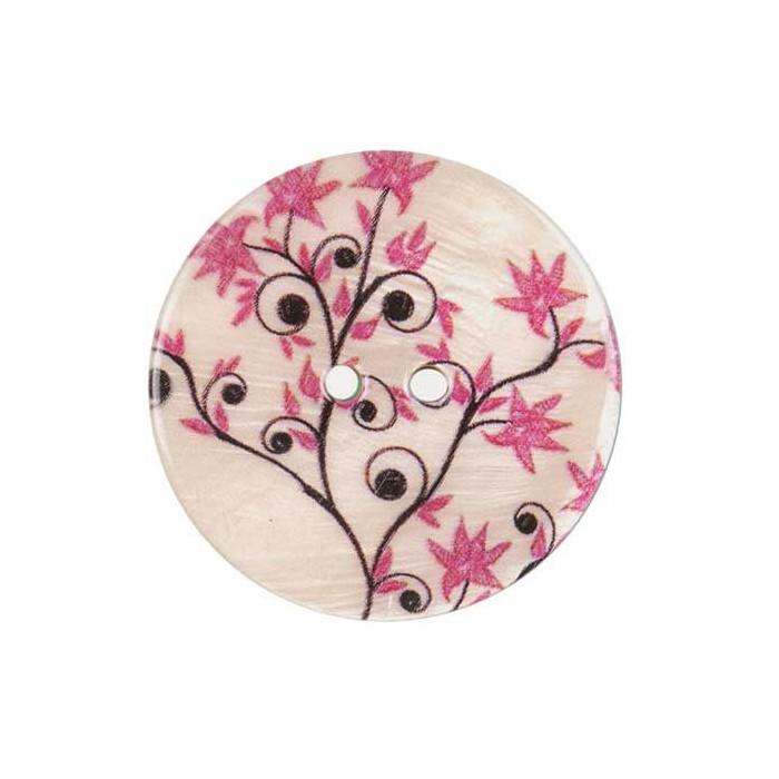 Bouton de nacre imprimé motif fleurs roses