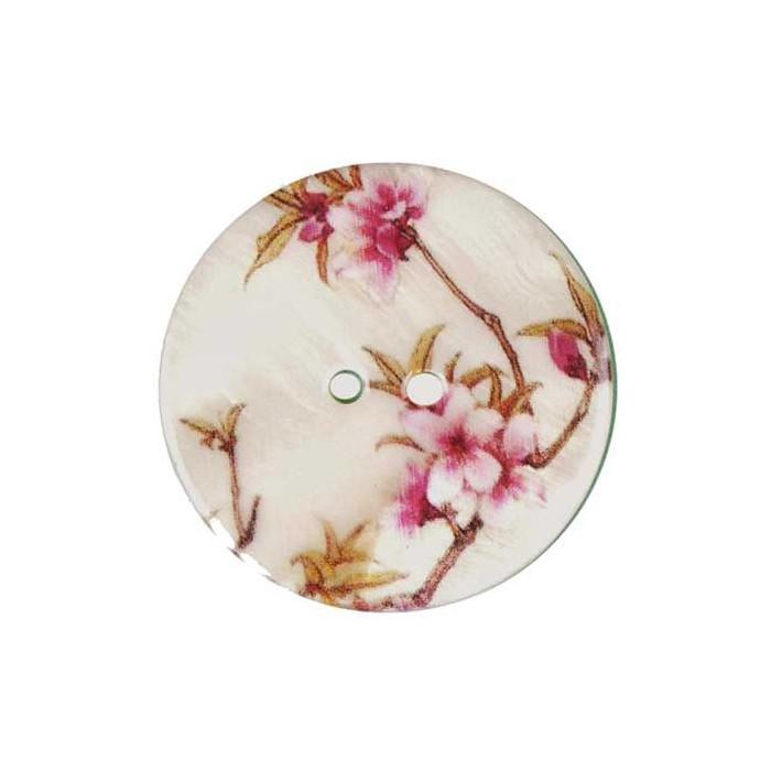 Bouton de nacre imprimé motif floral