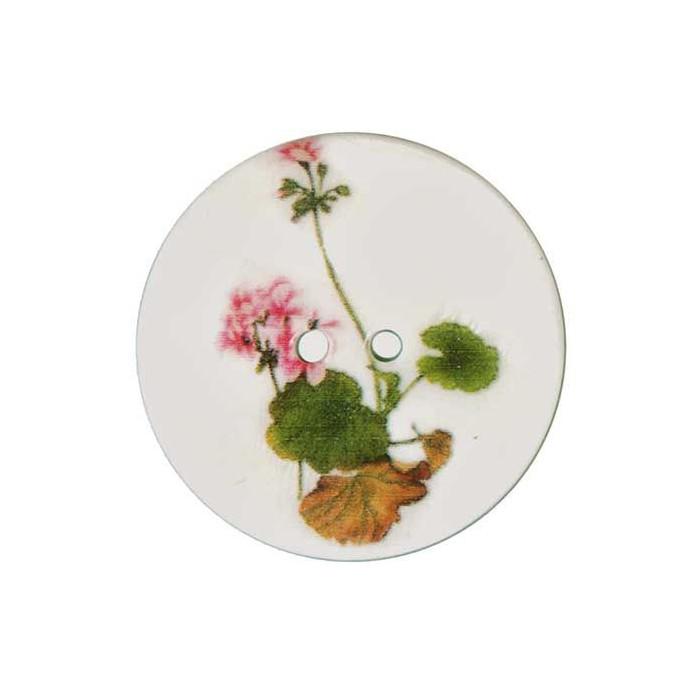 Bouton de nacre imprimé motif geranium