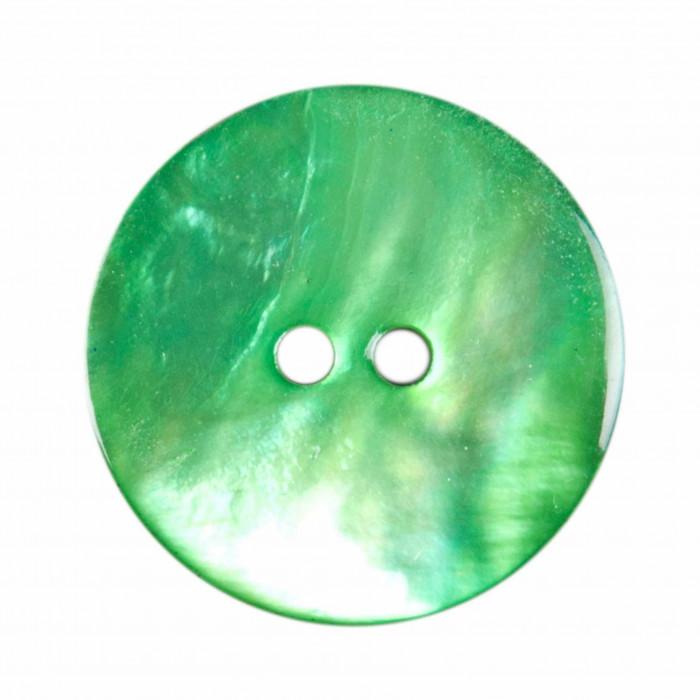 Bouton en nacre deux trous vert anglais
