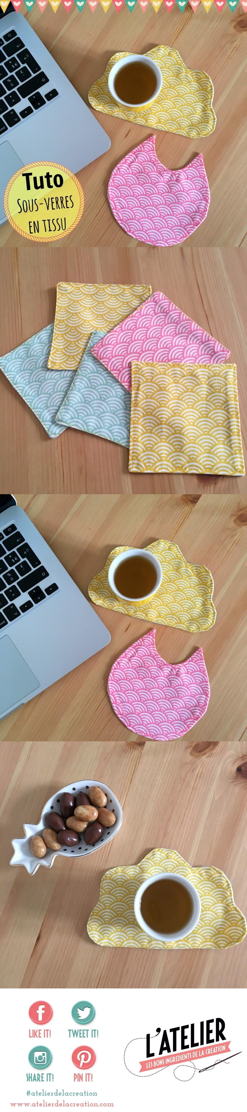 Couture sous-verres en tissus tuto Atelier de la Création